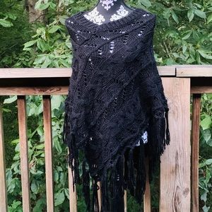 Maurices Shawl Poncho Style Sweater OS Black